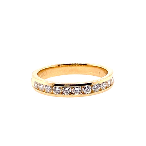 14kt Yellow Gold 11 Stone Channel Set Diamond Anniversary Band