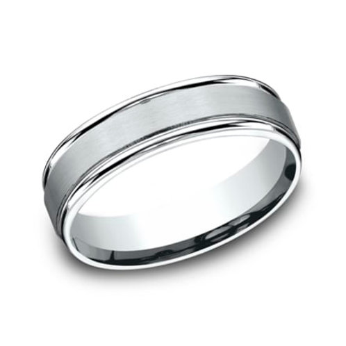 14kt Satin Center Finish Men's Wedding Band