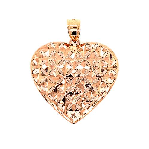 Estate 14kt Rose Gold Diamond Cut Heart Pendant