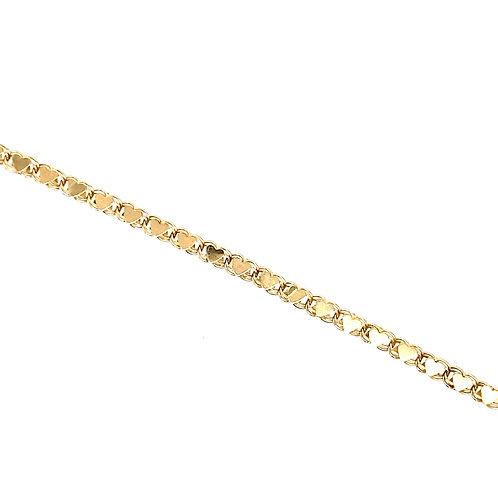 Estate 14kt Yellow Gold Hearts Link Bracelet