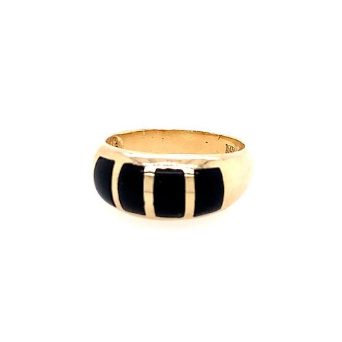 Estate 14kt Yellow Gold Black Onyx Dome Ring