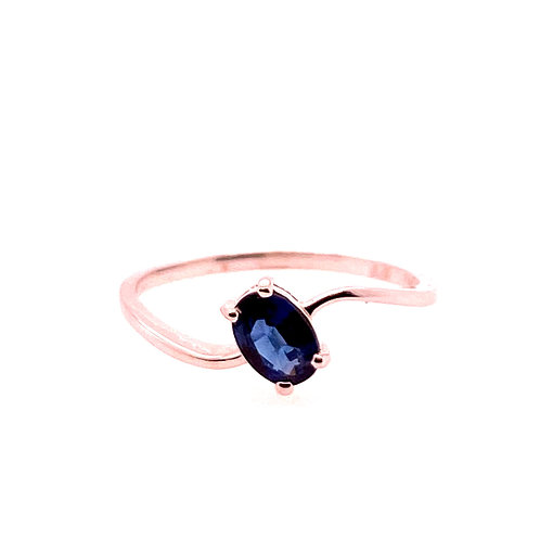14kt White Gold Oval Sapphire Ring
