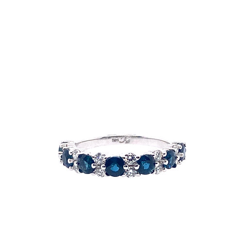 14kt White Gold Blue Sapphire And Diamond Band