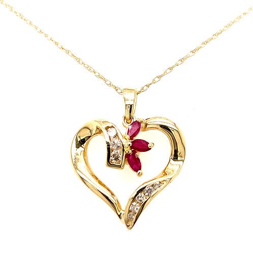Estate 14kt Yellow Gold Diamond And Ruby Heart Pendant
