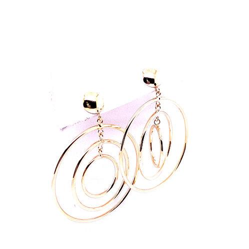 Estate 14kt Yellow Gold Hoop Dangle Post Earrings