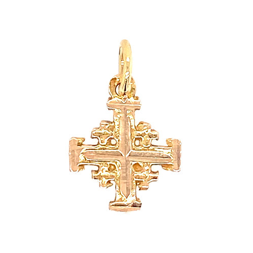 Estate 14kt Yellow Gold Jerusalem Cross Charm