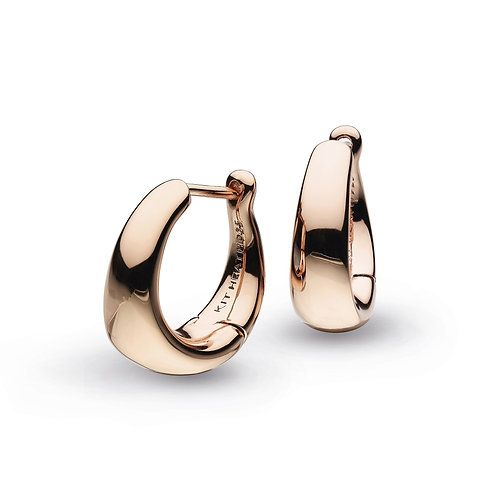Bevel Cirque Small Hinged Rose Gold Plated Hoop Earrings
