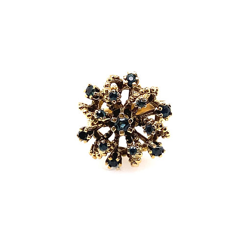 Estate 14kt Yellow Gold Sapphire Cluster Cocktail Ring