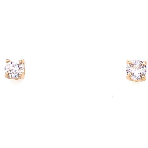 Estate 14kt Yellow Gold Round Diamond Stud Earrings