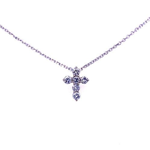 14kt White Gold Diamond Cross