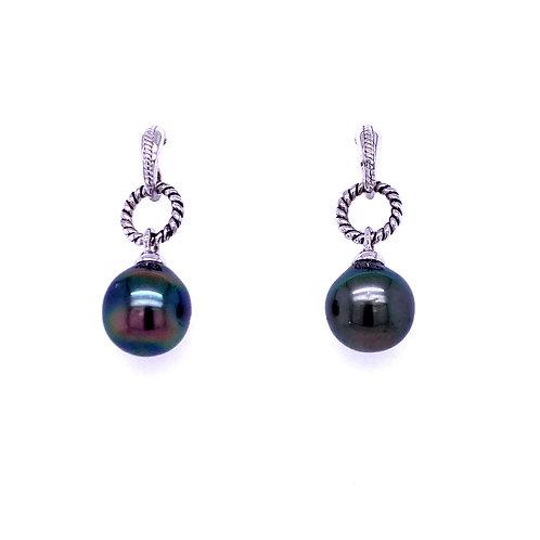 Sterling Silver Cultured Tahitian Pearl Dangle Earrings