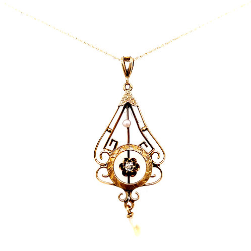 Estate 14kt Yellow Gold Vintage Diamond And Rice Pearl Pendant