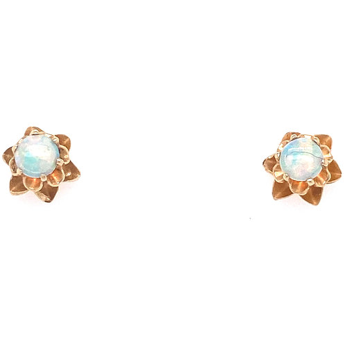 Estate 14kt Yellow Gold Opal Earrings
