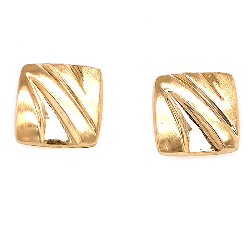 Estate 14kt Yellow Gold Square Designed Earrings