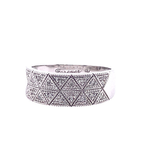 Estate 10kt White Gold Diamond Wide Band
