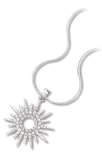 Sterling Silver Cubic Zirconia Small Starburst Pendant