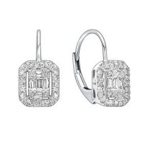 14kt White Gold Diamond Leverback Earrings