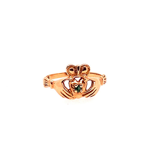 Estate 10kt Yellow Gold Claddaugh With Emerald Ring