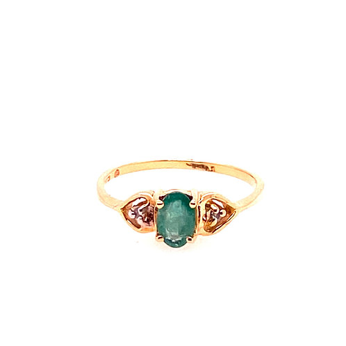Estate 10kt Yellow Gold Emerald And Diamond Ring