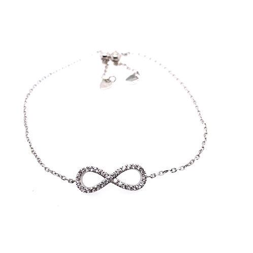 Sterling Silver Cubic Zirconia Infinity Bolo Bracelet