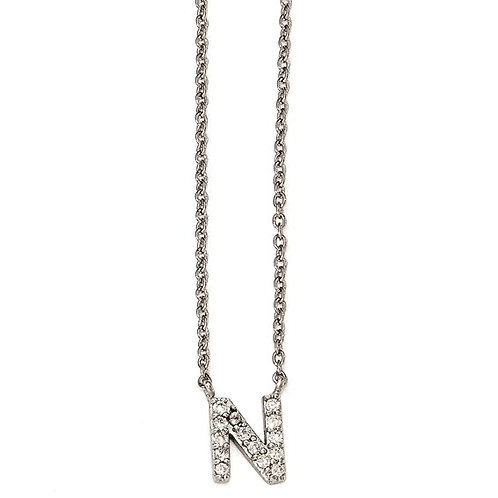 """Sterling Silver Cubic Zirconia """"N"""" Initial Necklace"""