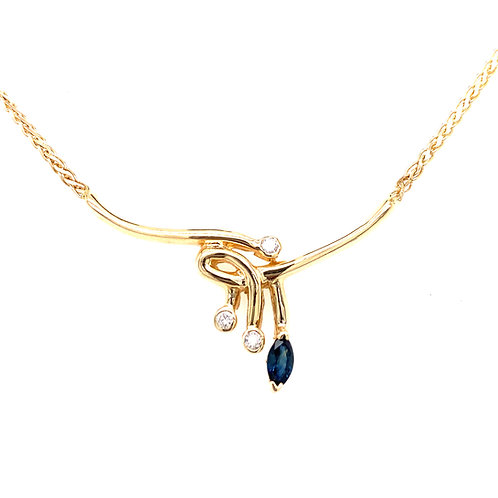 Estate 14kt Yellow Gold Marquise Sapphire And Diamond Necklace