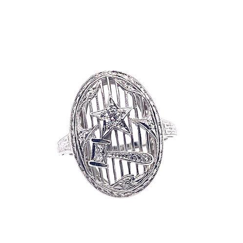 Estate Platinum Hammer And Star Diamond Ring