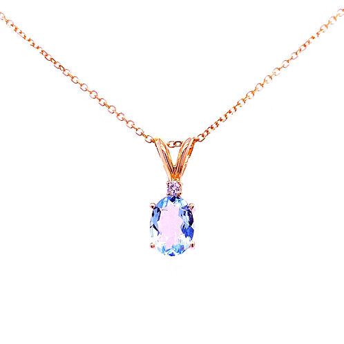 14kt Yellow Gold Aquamarine And Diamond Pendant