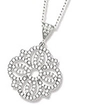 Sterling Silver Cubic Zirconia Flower Design Pendant