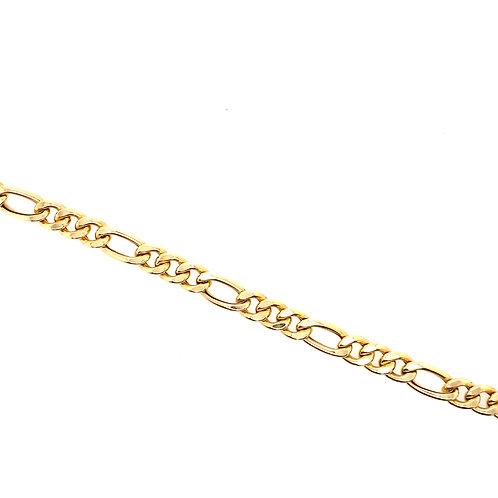Estate 14kt Yellow Gold Hollow Figaro Link Bracelet