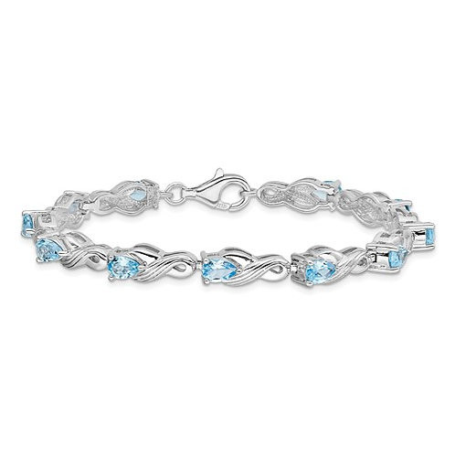Sterling Silver Blue Topaz Fancy Link Bracelet