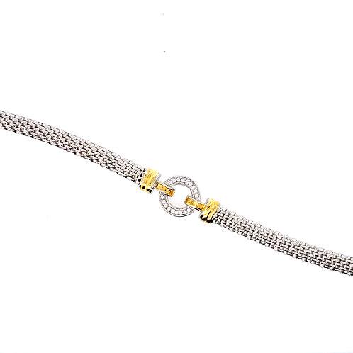 Sterling Silver Cubic Zirconia Mesh Style Bracelet