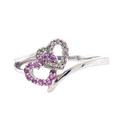 Estate 14kt White Gold Diamond Heart And Pink Sapphire Ring