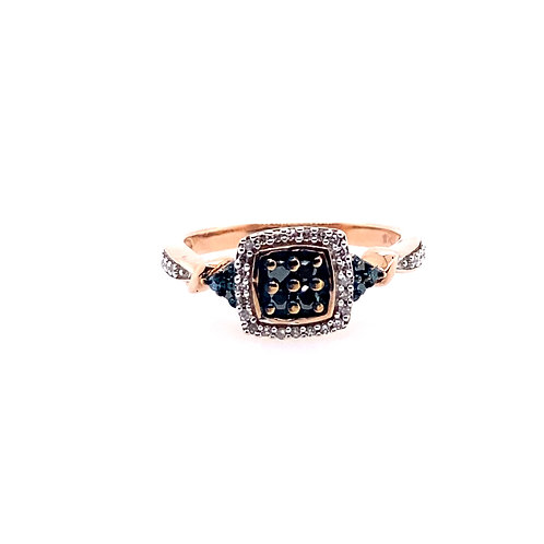 Estate 10kt Rose Gold Blue/Clear Diamond Cluster Ring