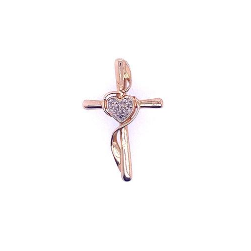 Estate 10kt Yellow Gold Diamond Heart Cross Charm