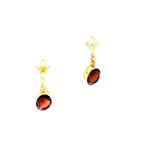 Estate 14kt Yellow Gold Smoky Quartz Dangle Earrings