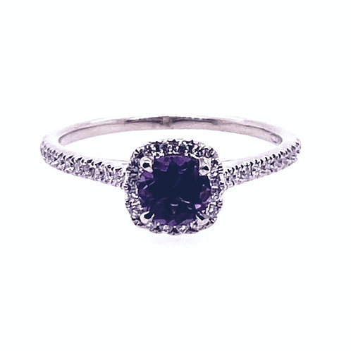14kt White Gold Amethyst And Diamond Halo Ring
