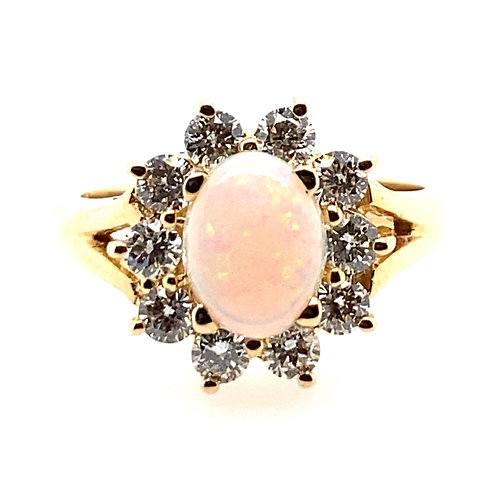 14kt Yellow Gold Opal And Diamond Halo Ring
