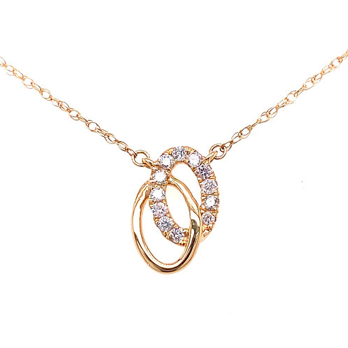 14kt Yellow Gold Double Ovals With Diamonds Pendant
