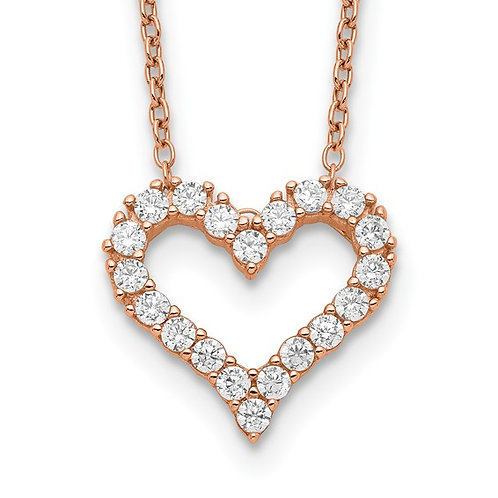 Sterling Silver Rose Plated Cubic Zirconia Open Heart Necklace