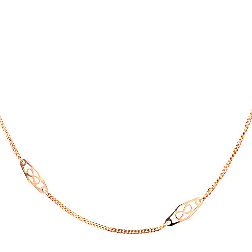 Estate 14kt Yellow Gold Filigree Stationary Chain