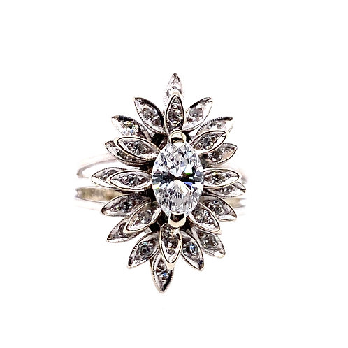 Estate 14kt White Gold Marquise Shaped Diamond Cluster Ring