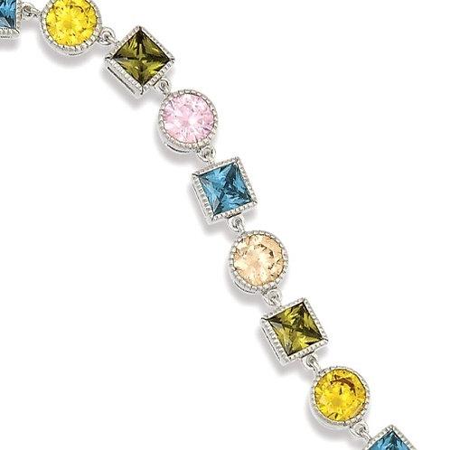 Sterling Silver Multiple Colored Stones Bracelet