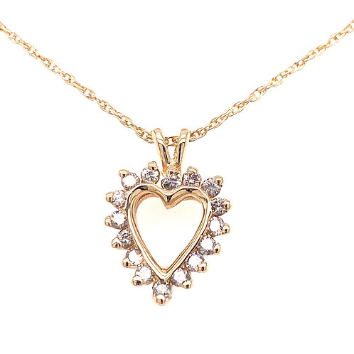 Estate 14kt Yellow Gold Diamond Heart Pendant