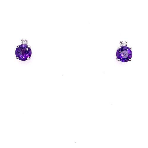 14kt White Gold Amethyst And Diamond Earrings