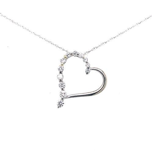 Estate 14kt White Gold Diamond Heart Pendant