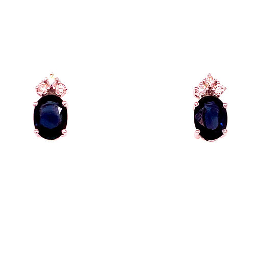 14kt White Gold Sapphire And Diamond Earrings