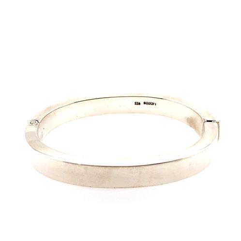 Sterling Silver Plain Wide Bangle Bracelet