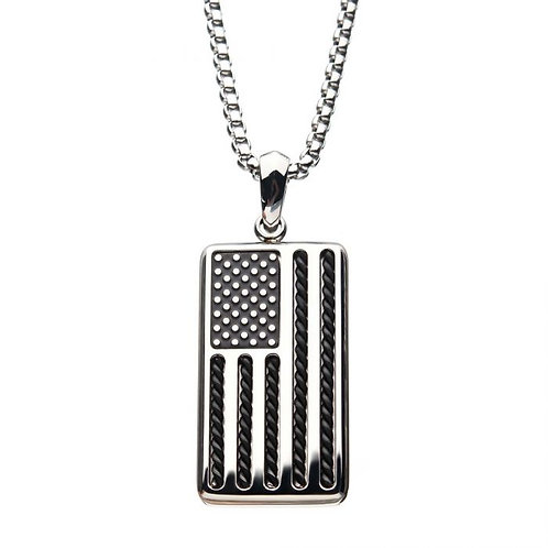 Stainless Steel American Flag Necklace