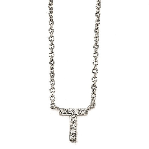 """Sterling Silver Cubic Zirconia """"T"""" Initial Necklace"""